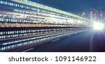 digital signals flying over... | Shutterstock . vector #1091146922