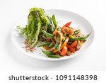warm salad of pork with green... | Shutterstock . vector #1091148398