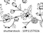seamless flower pattern... | Shutterstock .eps vector #1091157026