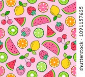 colorful hand drawn tropical... | Shutterstock .eps vector #1091157635