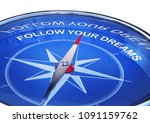 3d rendering of an compass with ... | Shutterstock . vector #1091159762