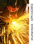 the worker cut steel with an... | Shutterstock . vector #1091162852