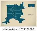 modern city map   denver... | Shutterstock .eps vector #1091163686
