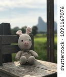 Small photo of Piggy rabbit sat on the chair at kanum coffee Patthalung around good weather.