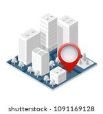 3d map isometric city of mobile ... | Shutterstock .eps vector #1091169128