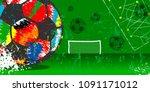 grungy soccer or football... | Shutterstock .eps vector #1091171012