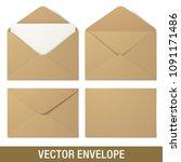 set of kraft paper vector... | Shutterstock .eps vector #1091171486