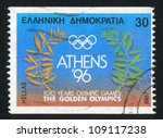 greece   circa 1988  stamp... | Shutterstock . vector #109117238