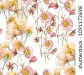 seamless pattern yellow poppy... | Shutterstock . vector #1091172698