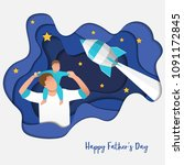 son on his father shoulders on... | Shutterstock .eps vector #1091172845