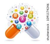 medical vitamin  mineral... | Shutterstock .eps vector #1091174246
