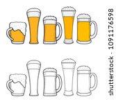 glasses of beer  hand drawing... | Shutterstock . vector #1091176598