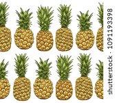 pineapples seamless pattern.... | Shutterstock .eps vector #1091193398