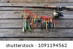 fishing floats in different... | Shutterstock . vector #1091194562