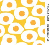 fried egg pattern with yellow... | Shutterstock .eps vector #1091196482