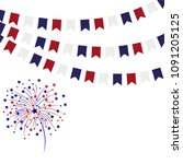 garlands of flags salute on... | Shutterstock .eps vector #1091205125