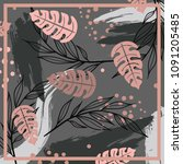 floral silk scarf on gray... | Shutterstock .eps vector #1091205485