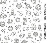 seamless pattern with space and ... | Shutterstock .eps vector #1091207642