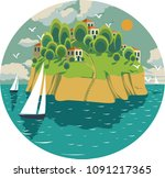 vector composition in a circle... | Shutterstock .eps vector #1091217365
