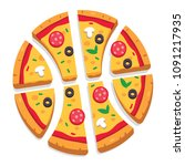 pizza cut into slices forming a ... | Shutterstock .eps vector #1091217935