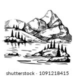 wild natural landscape with... | Shutterstock .eps vector #1091218415
