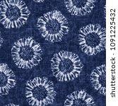 folk dyed floral shibori motif. ... | Shutterstock . vector #1091225432