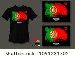 t shirt design portugal team...   Shutterstock .eps vector #1091231702