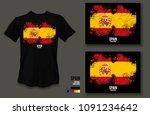 t shirt design spain team...   Shutterstock .eps vector #1091234642