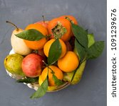 plate with fruits such as...   Shutterstock . vector #1091239676