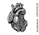 16 bit or 8 bit pixel art heart ... | Shutterstock .eps vector #1091243132