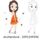 set of hand drawn beautiful... | Shutterstock .eps vector #1091249396