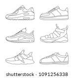 sneaker shoe minimalistic flat... | Shutterstock .eps vector #1091256338