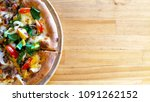 korean pizza isolated colorful   Shutterstock . vector #1091262152