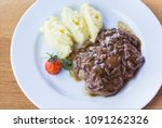lunch at the restaurant. meat... | Shutterstock . vector #1091262326