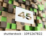 white papercut number 45 on the ... | Shutterstock . vector #1091267822