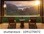 beautiful landscape at cafe... | Shutterstock . vector #1091270072