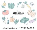 farm vegetables vector poster.... | Shutterstock .eps vector #1091276825