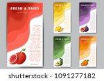 set of organic fruits cards.... | Shutterstock .eps vector #1091277182