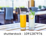fresh drink. glasses with... | Shutterstock . vector #1091287976