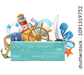 vector marine concept with blue ... | Shutterstock .eps vector #1091319752
