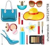 vector female summer... | Shutterstock .eps vector #1091319758