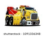 cartoon tow truck isolated on... | Shutterstock .eps vector #1091336348