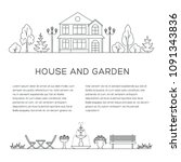 house and garden poster  banner ... | Shutterstock .eps vector #1091343836