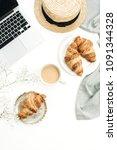 freelancer home office desk... | Shutterstock . vector #1091344328
