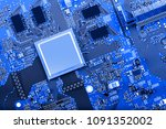 electronic circuit board close... | Shutterstock . vector #1091352002