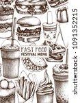 vintage design for fast food...   Shutterstock .eps vector #1091352215
