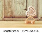 image of wooden car with heart...   Shutterstock . vector #1091356418