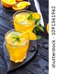 orange cocktail with ice and... | Shutterstock . vector #1091361962