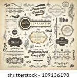 Stock vector vector set of calligraphic design elements page decoration premium quality and satisfaction 109136198