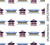 seamless pattern with korean... | Shutterstock .eps vector #1091370446